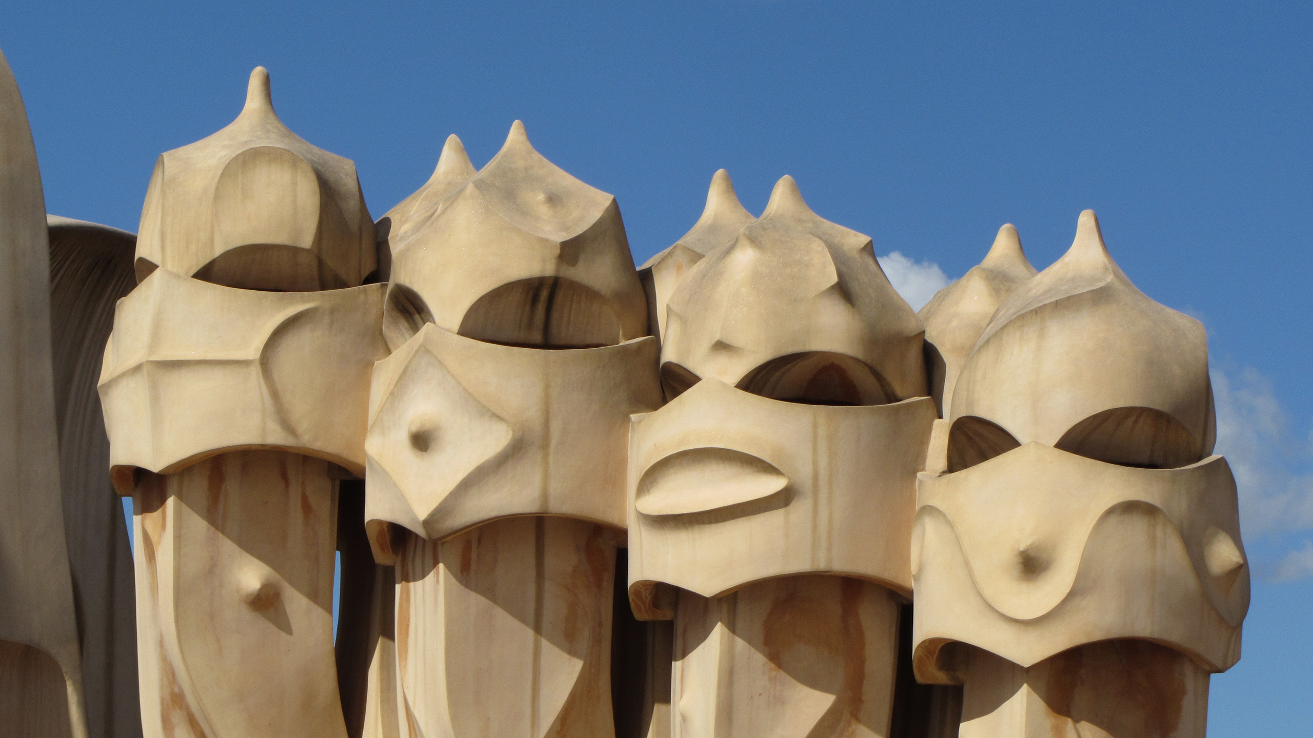 Chimneys on the roof of Casa Milà in Barcelona